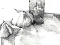garlic-and-bottles-graphite-drawing-rs