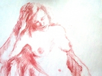 seated nude in red conte